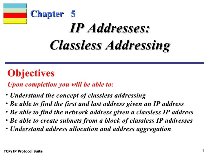 Chapter  5 Objectives  Upon completion you will be able to: IP Addresses: Classless Addressing <ul><li>Understand the conc...