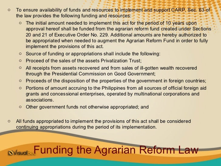 implementation of the comprehensive agrarian reform The comprehensive agrarian reform program (carp) - download as powerpoint   agrarian condition in the philippines 0 implementation of agrarian reform in.