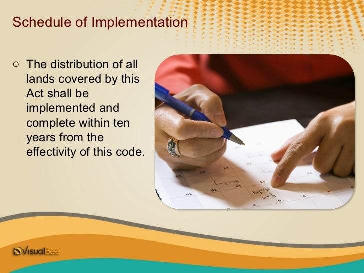 Schedule of Implementationo The distribution of all  lands covered by this  Act shall be  implemented and  complete within...