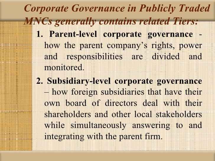 chap corporate governance in international business corporate governance