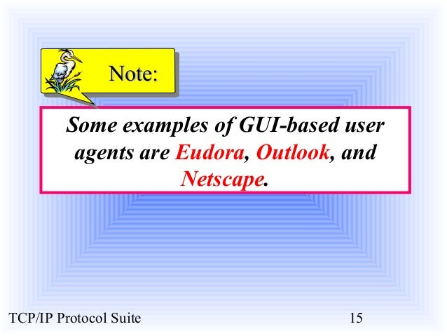 NNoottee::  Some examples of GUI-based user  agents are Eudora, Outlook, and  Netscape.  TCP/IP Protocol Suite 15