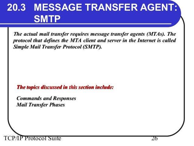 20.3 MESSAGE TRANSFER AGENT:  SMTP  The actual mail transfer requires message transfer aaggeennttss ((MMTTAAss)).. TThhee ...