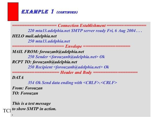 ExamplE 1 (ContinuEd)  ================== Connection Establishment ================  220 mta13.adelphia.net SMTP server re...