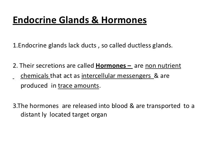 Endocrine Glands & Hormones1.Endocrine glands lack ducts , so called ductless glands.2. Their secretions are called Hormon...