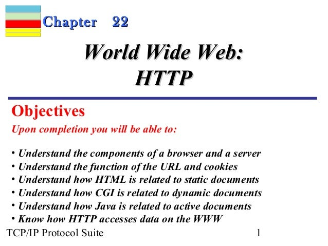 CChhaapptteerr 2222  WWoorrlldd WWiiddee WWeebb::  HHTTTTPP  Objectives  Upon completion you will be able to:  • Understan...