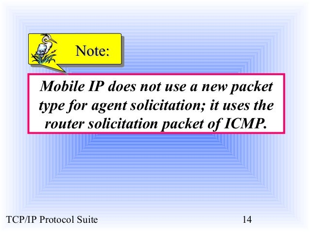 NNoottee::  Mobile IP does not use a new packet  type for agent solicitation; it uses the  router solicitation packet of I...