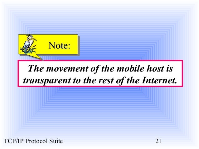 NNoottee::  The movement of the mobile host is  transparent to the rest of the Internet.  TCP/IP Protocol Suite 21