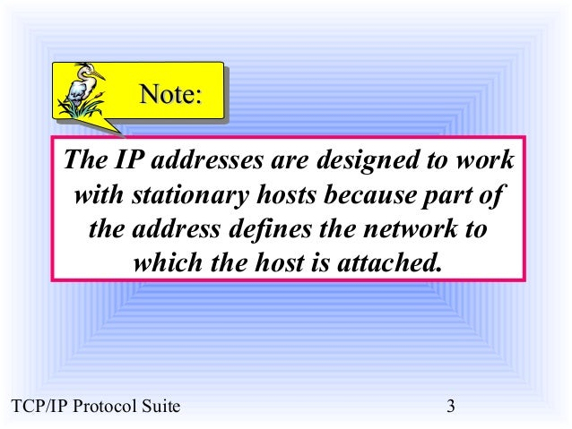 NNoottee::  The IP addresses are designed to work  with stationary hosts because part of  the address defines the network ...