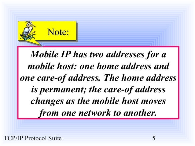 NNoottee::  Mobile IP has two addresses for a  mobile host: one home address and  one care-of address. The home address  i...