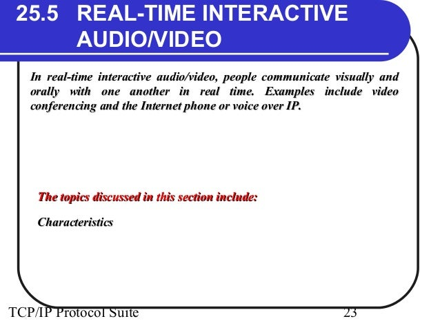 25.5 REAL-TIME INTERACTIVE  AUDIO/VIDEO  In real-time interactive audio/video, people communicate vviissuuaallllyy aanndd ...
