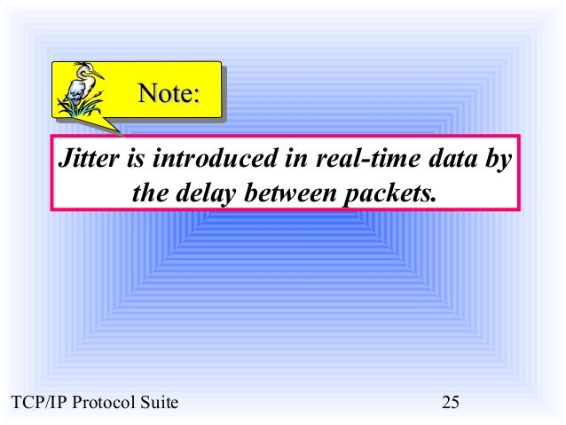 NNoottee::  Jitter is introduced in real-time data by  the delay between packets.  TCP/IP Protocol Suite 25