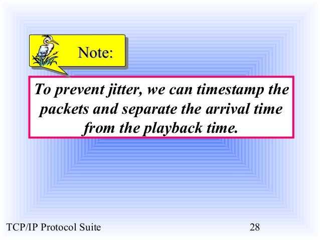 NNoottee::  To prevent jitter, we can timestamp the  packets and separate the arrival time  from the playback time.  TCP/I...