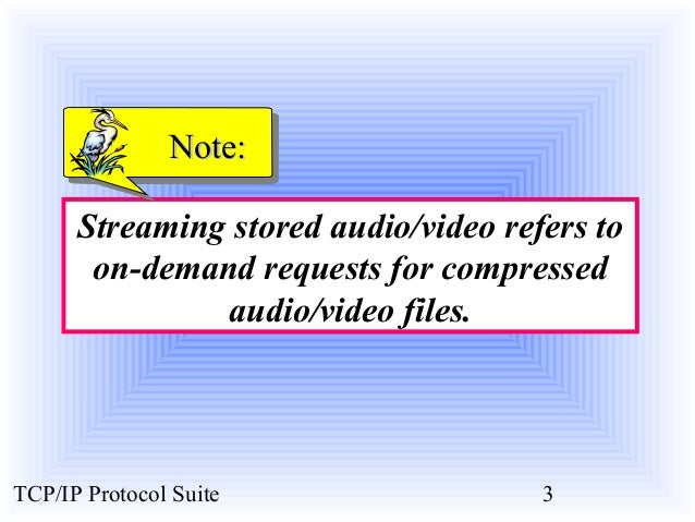 NNoottee::  Streaming stored audio/video refers to  on-demand requests for compressed  audio/video files.  TCP/IP Protocol...