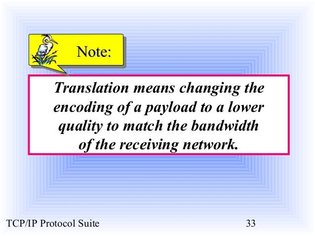 NNoottee::  Translation means changing the  encoding of a payload to a lower  quality to match the bandwidth  of the recei...