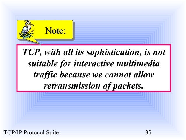 NNoottee::  TCP, with all its sophistication, is not  suitable for interactive multimedia  traffic because we cannot allow...