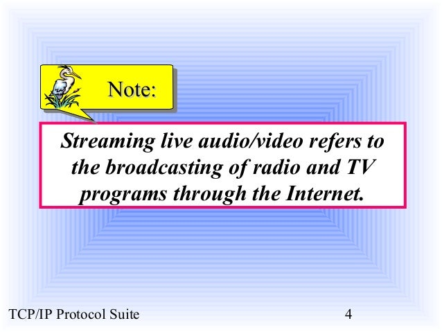 NNoottee::  Streaming live audio/video refers to  the broadcasting of radio and TV  programs through the Internet.  TCP/IP...