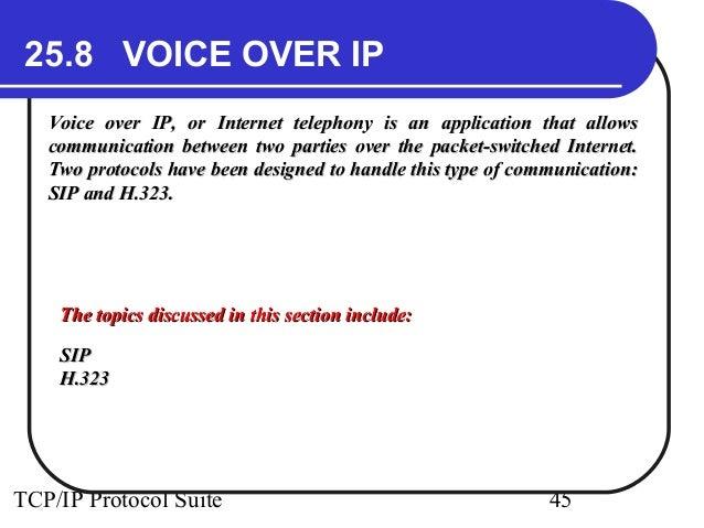 25.8 VOICE OVER IP  Voice over IP, or Internet telephony is an application tthhaatt aalllloowwss  ccoommmmuunniiccaattiioo...