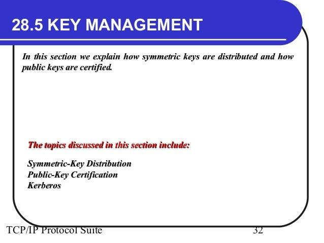 28.5 KEY MANAGEMENT  In this section we explain how symmetric keys aarree ddiissttrriibbuutteedd aanndd hhooww  ppuubbllii...