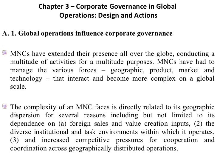 Chapter 3 – Corporate Governance in Global                   Operations: Design and ActionsA. 1. Global operations influen...
