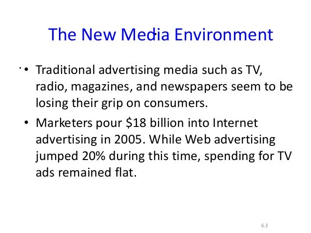 ..6.3The New Media Environment• Traditional advertising media such as TV,radio, magazines, and newspapers seem to belosing...