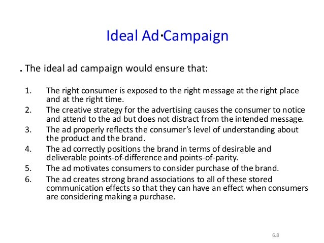 ..6.8Ideal Ad CampaignThe ideal ad campaign would ensure that:1. The right consumer is exposed to the right message at the...