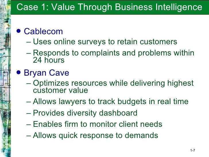 ecourier cablecom and bryan cave delivering value through business intelligence To online access real world case: ecourier, cablecom, and bryan cave:  delivering value through business intelligence real world case: the new.