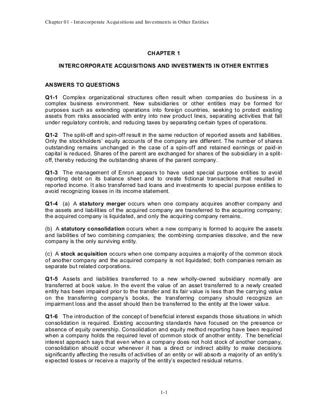 Chapter 01 - Intercorporate Acquisitions and Investments in Other Entities  CHAPTER 1 INTERCORPORATE ACQUISITIONS AND INVE...