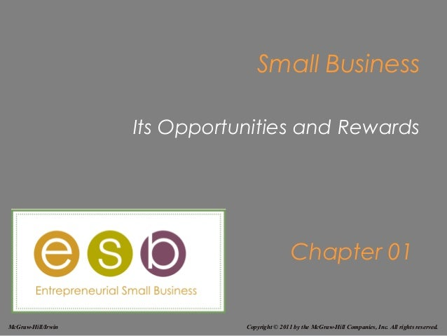 Small Business                    Its Opportunities and Rewards                                               Chapter 01Mc...