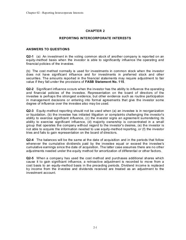 Chapter 02 - Reporting Intercorporate Interests  CHAPTER 2 REPORTING INTERCORPORATE INTERESTS ANSWERS TO QUESTIONS Q2-1 (a...