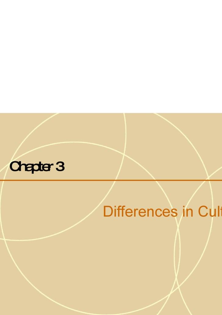 <ul><li>Chapter 3   </li></ul><ul><li>Differences in Culture </li></ul>