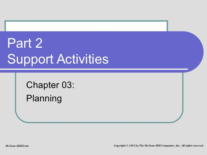 Part 2 Support Activities  Chapter 03:  Planning McGraw-Hill/Irwin Copyright © 2012 by The McGraw-Hill Companies, Inc. All...