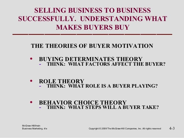 SELLING BUSINESS TO BUSINESSSUCCESSFULLY. UNDERSTANDING WHAT        MAKES BUYERS BUY       THE THEORIES OF BUYER MOTIVATIO...