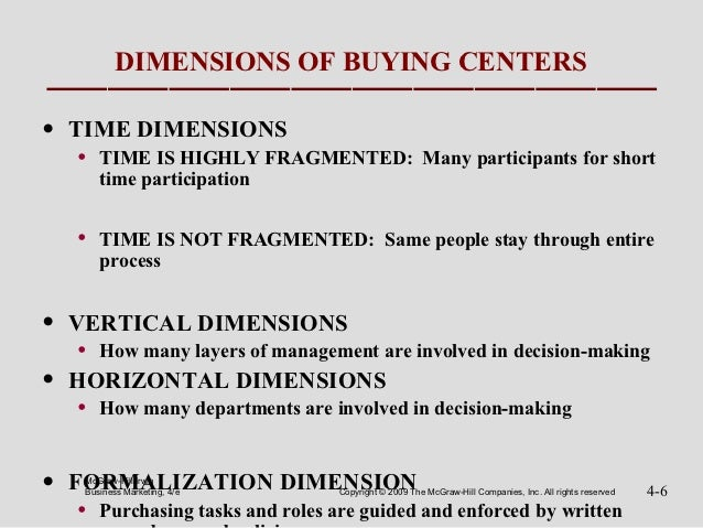 DIMENSIONS OF BUYING CENTERS•   TIME DIMENSIONS    •   TIME IS HIGHLY FRAGMENTED: Many participants for short        time ...