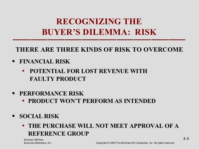 RECOGNIZING THE                     BUYER'S DILEMMA: RISK    THERE ARE THREE KINDS OF RISK TO OVERCOME•   FINANCIAL RISK  ...