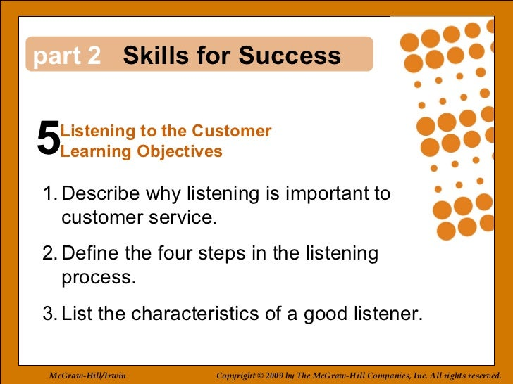 5 2 <ul><li>Describe why listening is important to  customer service. </li></ul><ul><li>Define the four steps in the liste...