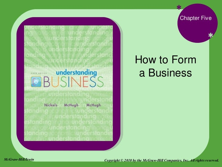 * * Chapter Five How to Form a Business Copyright © 2010 by the McGraw-Hill Companies, Inc. All rights reserved. McGraw-Hi...