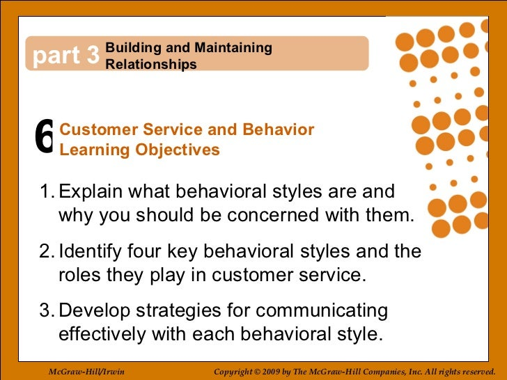 6 3 <ul><li>Explain what behavioral styles are and  why you should be concerned with them. </li></ul><ul><li>Identify four...