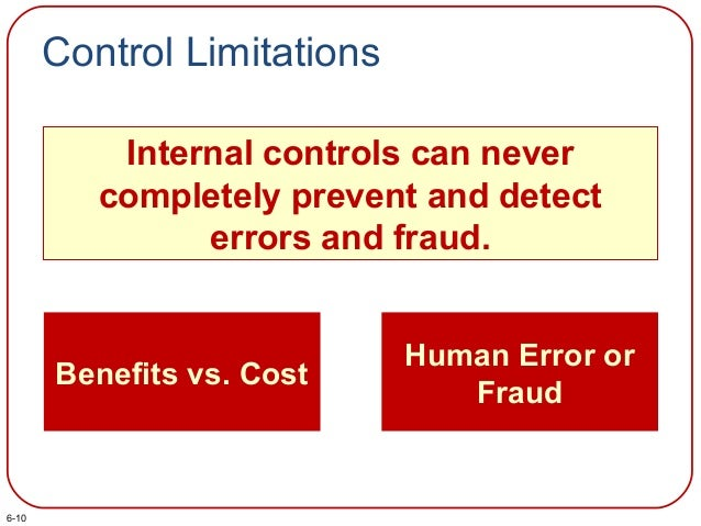 Control Limitations Internal controls can never completely prevent and detect errors and fraud. Benefits vs. Cost Human Er...