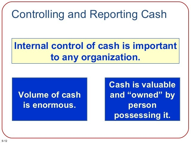Controlling and Reporting Cash Internal control of cash is important to any organization. Volume of cash is enormous. Cash...