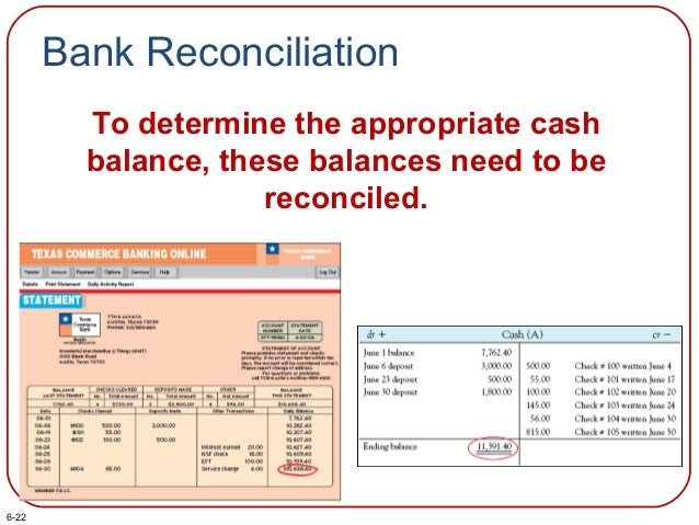 Bank Reconciliation To determine the appropriate cash balance, these balances need to be reconciled. 6-22