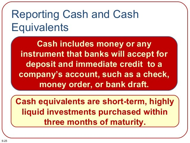 Reporting Cash and Cash Equivalents Cash includes money or any instrument that banks will accept for deposit and immediate...