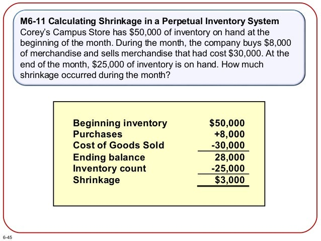 M6-11 Calculating Shrinkage in a Perpetual Inventory System Corey's Campus Store has $50,000 of inventory on hand at the b...