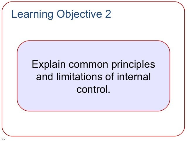 Learning Objective 2 Explain common principles and limitations of internal control. 6-7