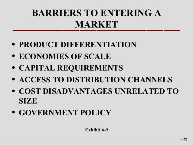 BARRIERS TO ENTERING A             MARKET•   PRODUCT DIFFERENTIATION•   ECONOMIES OF SCALE•   CAPITAL REQUIREMENTS•   ACCE...
