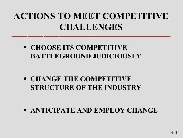 ACTIONS TO MEET COMPETITIVE        CHALLENGES •   CHOOSE ITS COMPETITIVE     BATTLEGROUND JUDICIOUSLY •   CHANGE THE COMPE...