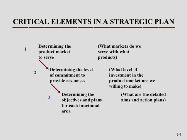 CRITICAL ELEMENTS IN A STRATEGIC PLAN          Determining the              (What markets do we  1          product market...
