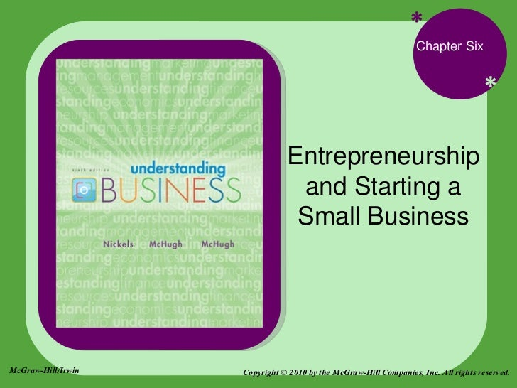* * Chapter Six Entrepreneurship and Starting a Small Business McGraw-Hill/Irwin Copyright © 2010 by the McGraw-Hill Compa...