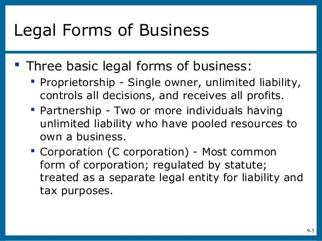 Entrepreneurship Chap 9Business Legal Forms All. 25 Legal Forms Of