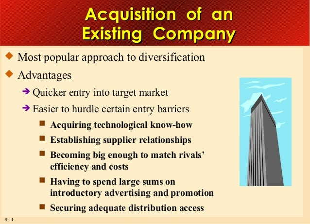 Acquisition of an Existing Company  Most popular approach to diversification  Advantages  Quicker  Easier  entry into ...