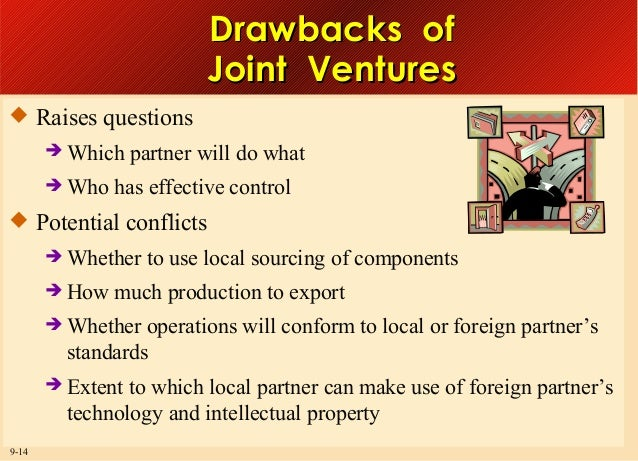 Drawbacks of Joint Ventures  Raises questions  Which  Who  partner will do what  has effective control   Potential con...